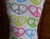 Recycled Cut Up T Shirt Heart Multi Colored Peace Signs Women's Size Small