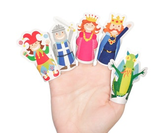 Medieval Paper Finger Puppets - PRINTABLE PDF Toy - DIY Craft Kit Paper Toy - Birthday Party Favor