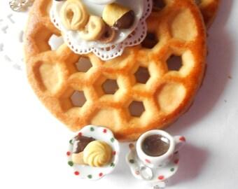 Danish cookies with coffee earrings -  handmade miniature polymer clay food jewelry