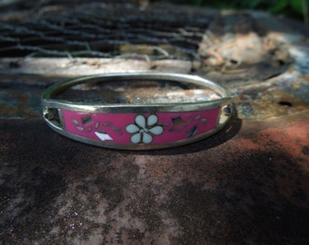 Vintage Alpaca Hinged Bangle Bracelet Hot Pink with Inlaid Abalone Flowers Mexico