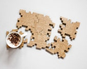 Wooden Coasters - Puzzle Coasters - Interlocking Puzzle - Geometric - Solid Oak - Wood Puzzle - Jigsaw - Drink Mats - Home Decor - Set of 6