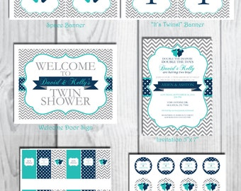 Blue Bodysuit Baby Shower Party Package/Birthday Party Package/Twin Chevron Party Package-DIGITAL DOWNLOAD
