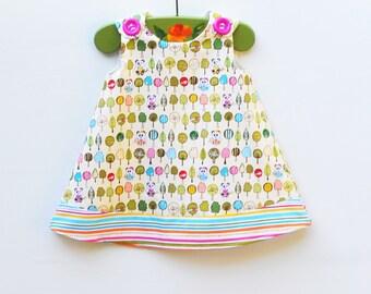 Last One - Panda - Panda Bears Aline Girls Dress - Children Dress - Tea Party Dres  - Country Wedding - Children Clothing