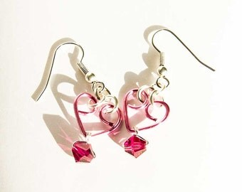 Pink Heart Earrings Fuschia Crystals Pink Silver Plated Earrings