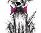 Barney dog Print download Cheerful looking pet pooch pup in posh bow tie Funky mutt with sticky out ear and cute face Fun animal picture