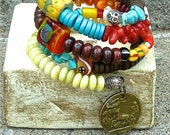 RESERVED BoHo Beaded Bracelet - Memory Wire - African Trade Beads - Pineapple Jasper -  Greek Ceramic Beads  - Joy Moos Collection