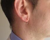 Twist Hoop Men's Earrings. Gold Earrings for Men. Gold Gypsy Earrings. Mens Hoops. Unisex Earrings / Gold Braid Earring / Gold thick Hoops
