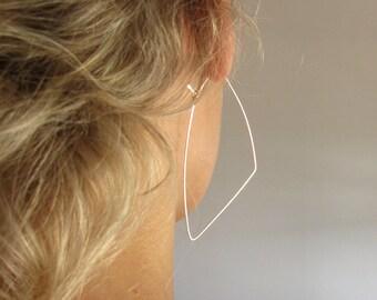 Triangle Hoops - Sterling Silver Hoop Earrings - Geometric Earrings - 3 inch Extra Large Hoops / Triangle Earrings / Geometric Jewelry