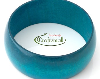 Clearance: Wooden bangle - teal bangle made of wood - size S