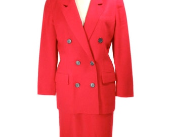 vintage 1980s CHRISTIAN DIOR skirt suit / red wool / The Suit / power suit / Working Girl / office fashion / women's vintage suit / size 4
