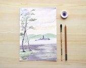 Fairy misty castle Japanese lake watercolor mauve mint