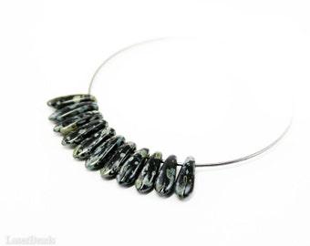 Black Green Picasso Daggers 10mm (50) Czech Glass Beads Teardrop Fang Spike