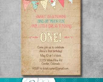 Shabby Chic First Birthday Invitation - Digital File - Printable - Customizable - DIY