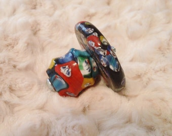 Set of 14 Chunky Glass Drawer Knobs Pulls Handles Red Blue Yellow Green with Back Plate