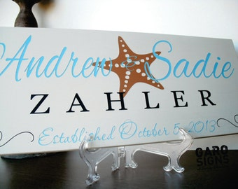 Beach Wedding Sign for Beach Themed Wedding Decor Personalized Family Name Sign with Established Date Wood Sign Gift 7 X 18 IN.