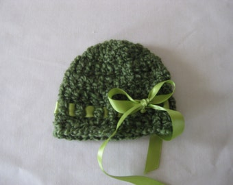 Crochet Baby Hat Girl Ribbon Handmade Photo Prop green hat with green ribbon St Patrick's Day