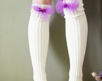 White / leg warmers very long knitted decorated comfortable with violet purple tulle ribbon accessories women fantasy clothing legwear