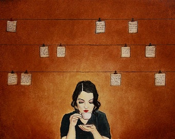"Art print // Poet - woman - poems - coffee // ""The poet"""