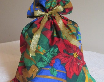 Christmas Bells fabric gift bag, Small.  Reusable.
