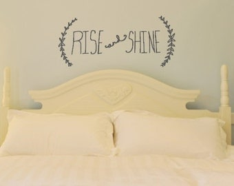 Rise and Shine. Hand-drawn Custom Vinyl Bedroom Wall Decal Sticker.