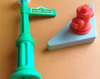 Fisher Price Sesame Street Replacement Parts, fire hydrant, lamp post, original, Sesame Street Playhouse, vintage toys, egst, Greece