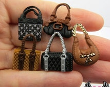 Jesse James Buttons 5 pc a POSH PURSES Handbag Girly Buttons OR Turn them Into Flatback Decoden Cabochons