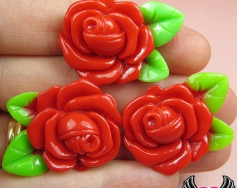 Large Red Rose with Leaves Resin Flower Cabochons / Decoden Flatback Resin Cabochon 32mm