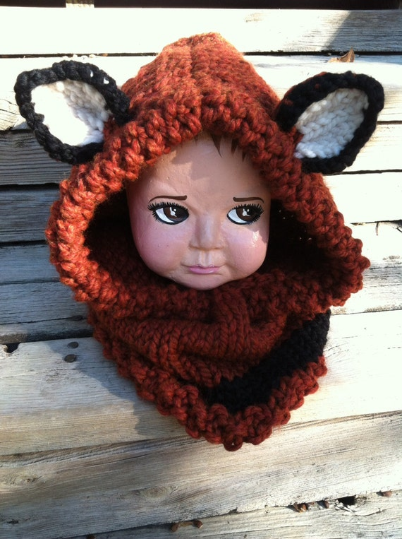 Animal Hoodie Knitting Pattern : Kids Ginger Fox Hoodie Animal Hat Chunky Knit by ThatGirlKnitz