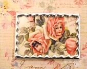 Vintage VALENTINE Victorian Cabbage Rose Girls Glass POSTCARD
