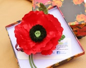 SAMPLE SALE poppy jewelry, fabric flower, red poppy, veterans day, fabric poppy, poppy pin, veteran poppy, Remembrance
