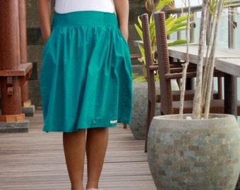 Teal Skirt, women's midi skirt, gathered skirt, knee length cotton skirt