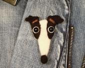 Greyhound, Needle Felted Greyhound Pin, Italian Greyhound, IG, Iggies,Galgo, Whippet