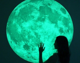 XL-size Moonlight night-light wall-sticker, Clair De Lune (glow in the dark moon wall sticker-100cm/39inch)