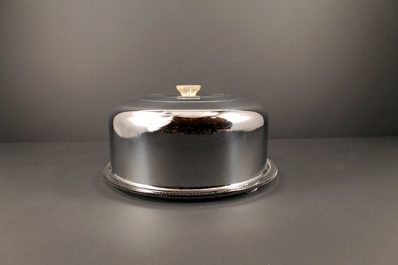 vintage chrome cake cover with glass cake plate by circa810. Black Bedroom Furniture Sets. Home Design Ideas