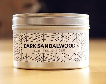 Sandalwood 8oz Soy Candle with Wood Wick