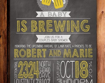 Baby is Brewing Couples Shower Invite Printable or Professionally Printed Cards