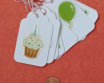 White Birthday Tags Set of 8 with Orange Baker's Twine