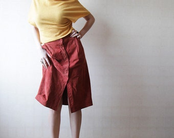 Red soft suede knee length skirt