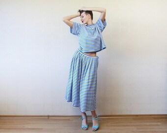 Blue white horizontal striped nautical skirt top suit L