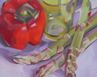 AspargusTrio, Red Pepper, Green Glass, Original Oil Painting