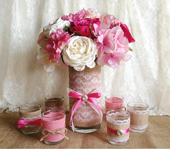 Pink Wedding Decoration Ideas: Natural Burlap And Pink Lace Covered 1 Vase And 6 Votive Tea