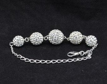 White Pave Crystal Disco Ball Bead Bracelet - 14mm, 12mm, 10mm - 5GCB