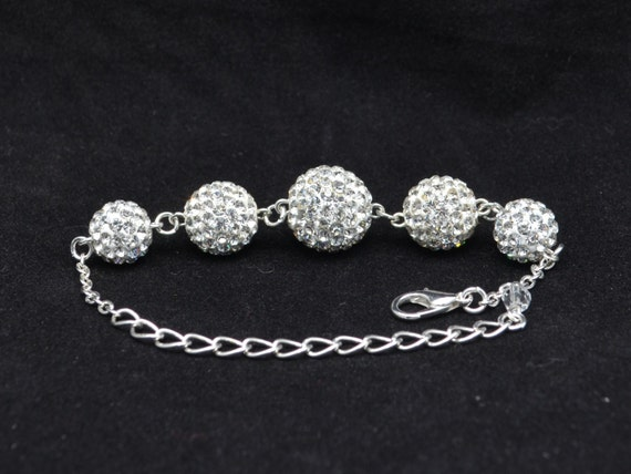 White Pave Crystal Disco Ball Bead Bracelet - 14mm, 12mm, 10mm - 5GCB