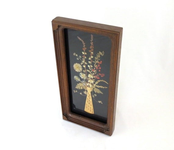 Mid century modern collage wall art dried flowers and for Modern collage frame
