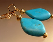 Earrings Handmade Turquoise Magnesite Big Bold Exotic Boho Curved Genuine Stones Gold Plated Brass Beads Findings Customized Ear Wires
