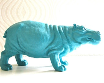 DARK TURQUOISE Large Hippo Animal Statue:  Hans the Hippo // table top // nursery decor // kids room decor // office // water land animals
