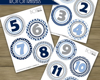 PRINTABLE DIY Monthly Baby Stickers or Iron On Transfers // Baby Milestone // The Blues // Navy, Carolina Blue, Gray // 12 unique patterns
