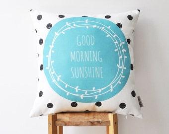 """ON SALE Decorative Pillow, Blue Nursery Pillow, Modern Kids Pillow, Throw Pillow, Kids Cushion, Dots Pillow 16"""" x 16"""""""