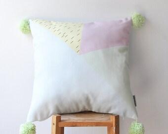 "Decorative Geometric Pillow, Modern Nursery Pillow, Pastel Pompom Kids Pillows, Teen Cushion Cover, Throw Pillow 16"" x 16"""