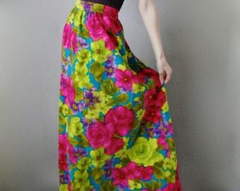 Velvet Dress Velvet Skirt Maxi Skirt Long Velvet Skirt Vintage Velvet Skirt Floral Maxi Skirt Vintage Print 60s Floral 70s Floral Pink Green